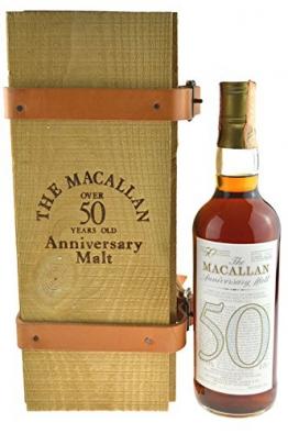Rarität: The Macallan Anniversary Jahrgang 1928 - 50 Jahre alt 0,7l mit 38,6% vol. incl. Holzkiste mit Lederriemen - Single Malt Scotch Whisky -